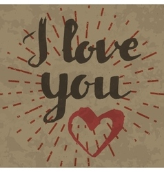 I love you inscription on retro background vector