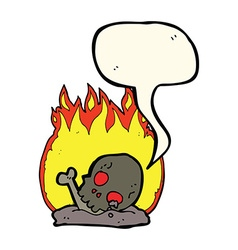 Cartoon burning old bones with speech bubble vector