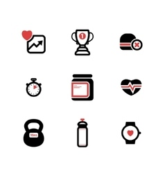 Set of blackand red fitness icons vector