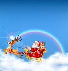 Happy santa in his christmas sled being pulled vector