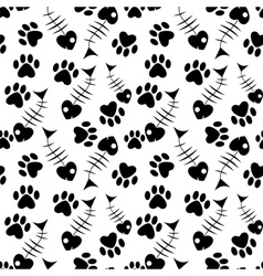 Seamless paw and fish pattern vector