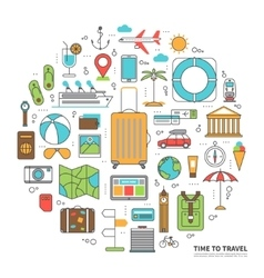 Travel concept in thin line style vector