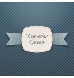 Ramadan kareem festive label with greeting ribbon vector