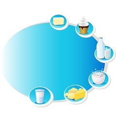 Blue design frame with dairy products - vector