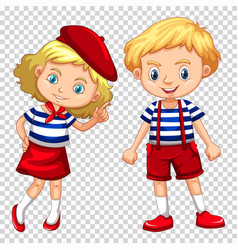 Boy and girl on transparent background vector