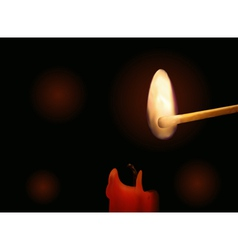Candle and burning match vector image vector image