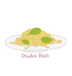 cartoon hand drawn spinach pasta vector image