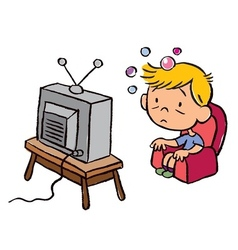 Child addicted to television vector