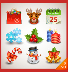 Christmas icon set-3 vector image