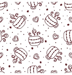 Christmas seamless pattern with cups and cookies vector image vector image