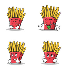 collection stock french fries cartoon character vector image vector image