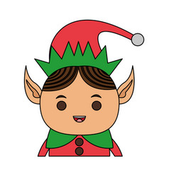color image cartoon half body christmas elf with vector image vector image