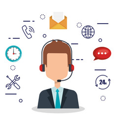 Customer service agent with settings vector
