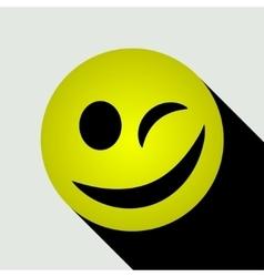 Emoticon winking icon vector image