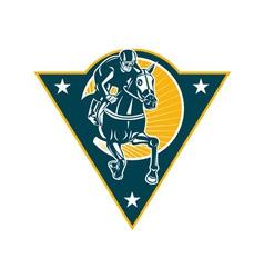 Equestrian horse racing jockey retro vector