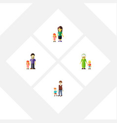flat icon relatives set of father grandma boys vector image vector image