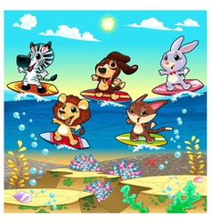 Funny animals surfing on the sea vector