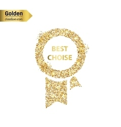 Gold glitter icon of ribbons award isolated vector