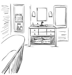 hand drawn sketch of an interior part of the vector image vector image