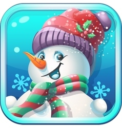 Icon jolly snowman in cap for computer game vector