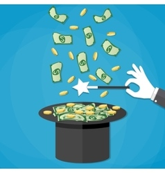 money coming out of the magician hat vector image vector image