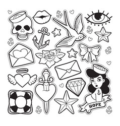 Old school fashion patch badges vector