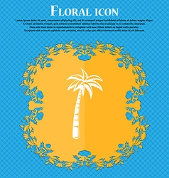 Palm icon Floral flat design on a blue abstract vector image