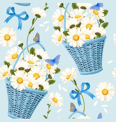 Seamless baskets of camomiles vector