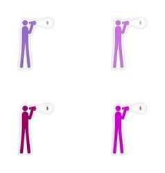 Set of stylish sticker on paper man megaphone vector