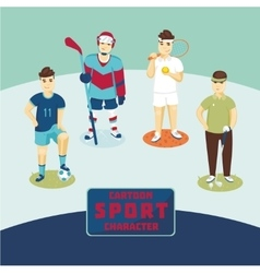 Sports characters set Cartoon players vector image vector image