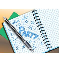 Weekend plan drawing in notebooke vector