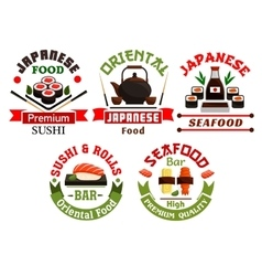 Oriental japanese food restaurant icons vector