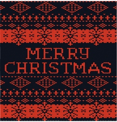 Black and red winter pattern Christmas knitted vector image