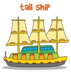 Art of tall ship vector