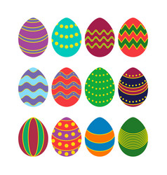 Colored silhouettes of easter eggs vector