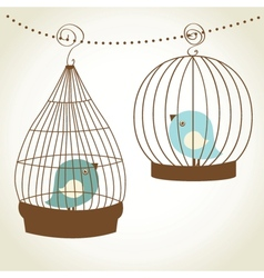 Vintage card with two cute birds in retro cages vector