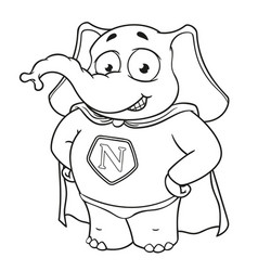 Elephant character a superhero in a red cloak vector