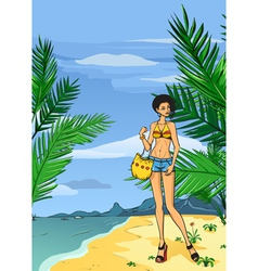 Girl in jeans on the beach vector