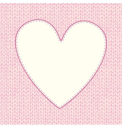 Seamless knitted pattern with heart shaped frame vector