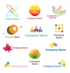 Logo plus icon set vector