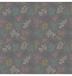 Seamless pattern with twigs gray background hand vector