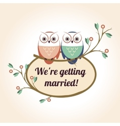 Retro badge with the couple wedding cute owls vector