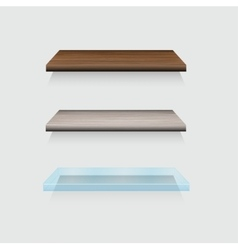 Modern wooden and glass shelfs set on gray vector