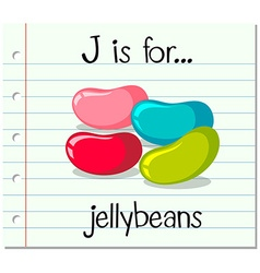 Flashcard letter j is for jellybeans vector