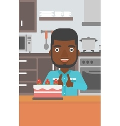 Man looking at cake vector