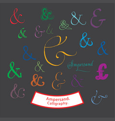 Ampersand calligraphy vector