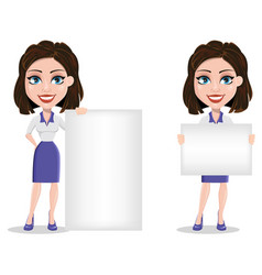 Beautiful business woman holding blank placard vector
