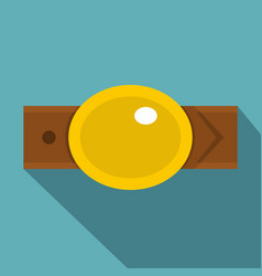 Belt with gold oval shaped buckle icon flat style vector