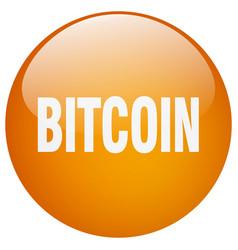 Bitcoin orange round gel isolated push button vector