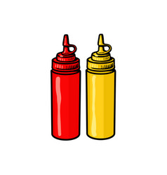 Blank fast food bottles of ketchup and mustard vector